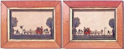 Pair of English Victorian Maple Framed Silhouettes of Red Coach and Horses