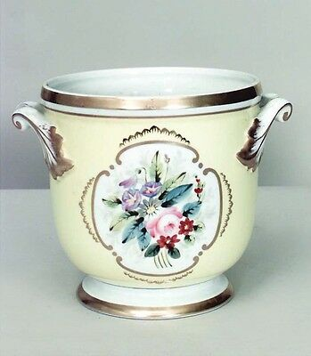 French Victorian Style Yellow and White Porcelain Cachepot with Floral Design