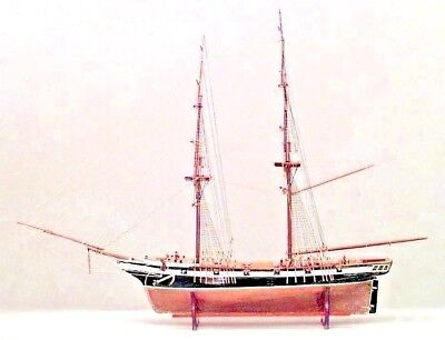 English (19th Cent) ship model with copper hull and 10 brass cannons