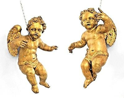 Pair of Italian Rococo Style (18th Cent) Carved Gilt Wood Hanging Cupid Figures