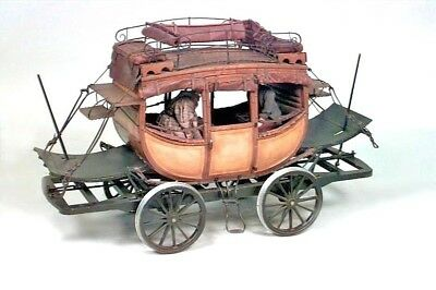 American Country Style (20th Cent) Model of DeWitt Clinton Stage Coach & Dolls