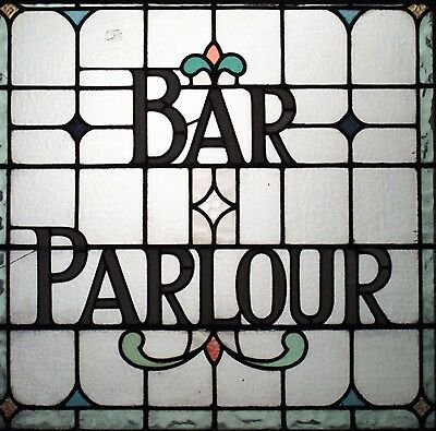 "English Victorian Leaded Glass Pub Sign/Window Panel ""Bar Parlour"""