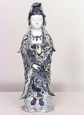 Pair of Asian Chinese style blue and white porcelain standing figures (19/20th C