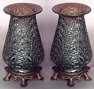 Pair of American Victorian Green Glass & Gold Table Lamps