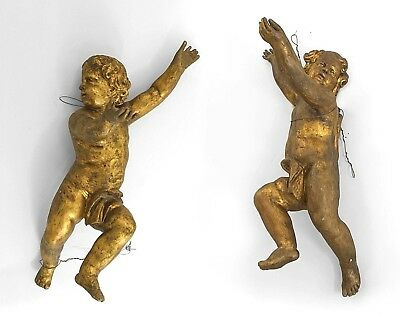 Pair of Italian Rococo (18th Cent) Gold Painted Life-Size Hanging Cupid Figures