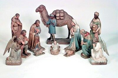 Italian Renaissance Style 19th Century Terra Cotta 12 Piece Creche/Nativity Set