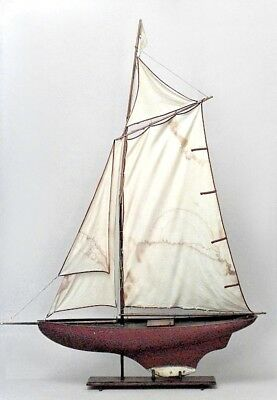 English Victorian Pond Boat Model on Stand with Painted Red Hull