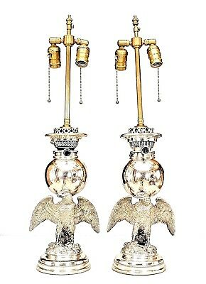 Pair of American Victorian Style (19th Cent.) Eagle Base Oil Lamps (Wired)