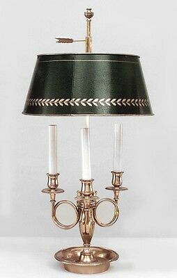 French Empire style brass 3 arm bouillotte table lamp with horn motif and green