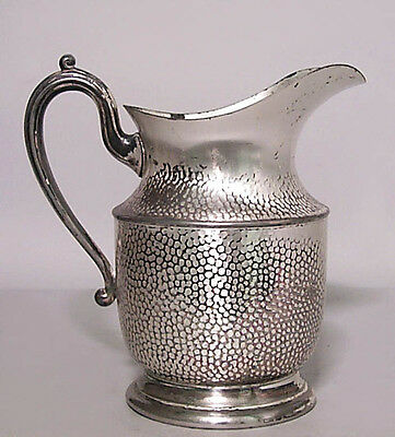 American Victorian/Mission Style Hammered Silver Plate Pitcher