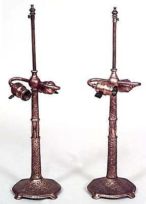 Pair of American Victorian Bronze Dore Table Lamps (signed: TIFFANY)