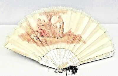 American Victorian decorative hand fan with pearl and silk painted scene