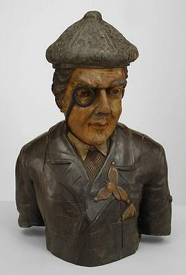 English Country style (19th Cent) carved and painted wood bust of Scotsman with