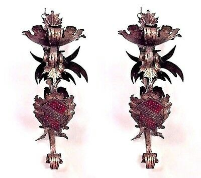 Pair of Italian Renaissance Style (19/20th Cent) Gilded Iron Wall Brackets