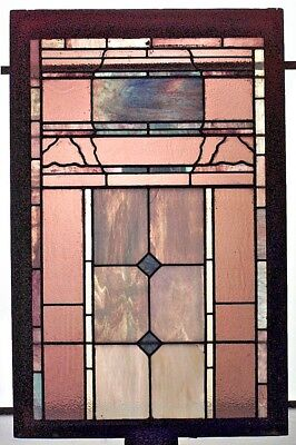 American Victorian Leaded Multicolored Glass Window with Geometric Design