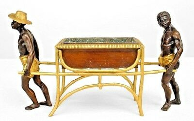 French Directoire style (20th Cent) bronze and gilt trimmed centerpiece with 2 n