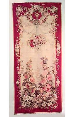 Pair of French Victorian Vertical Red Aubusson Wall Hangings of Floral Design