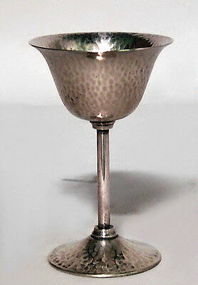 Set of 6 American Victorian/Mission Style Hammered Silver Plate Wine Glasses