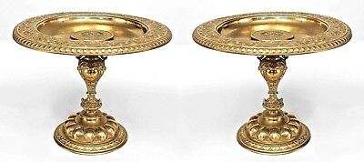 Pair of Italian Rococo Style (19th Cent) Bronze Dore Pedestal Base Compotes