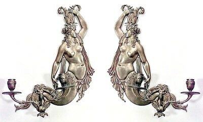 Pair of Italian Neo-Classic Style (20th Cent) Bronze 2 Arm Mermaid Wall Sconces