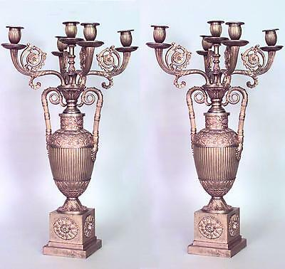 Pair of French Empire Style (19th Cent.) Bronze Dore 5 Arm Urn Shaped Candelabra