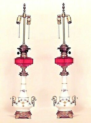Pair of English Regency Style (19th Cent) Porcelain Table Lamps