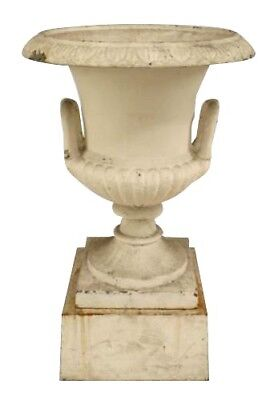 Outdoor Victorian Style Iron Urn on Base with Handles (20th Cent.)
