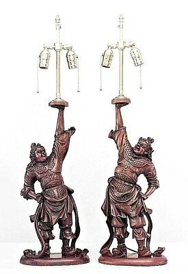 Pair of Asian Japanese (19th Cent) teak carved Samurai figures with one arm up m