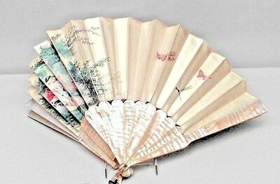American Victorian decorative hand fan with mother of pearl and silk painted sce