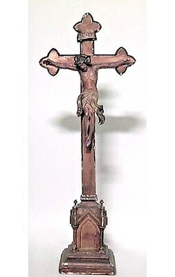 Italian Renaissance Style (19th Cent.) Carved Wood Crucifix