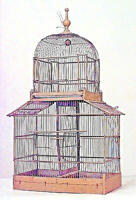 French Victorian Style Painted Wood and Wire Birdcage