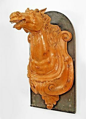 French Provincial (19th Cent) Carved Pine Horse Head Wall Plaques