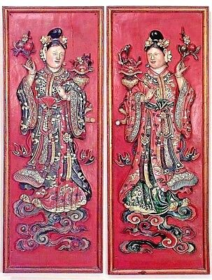 Pair of Asian Chinese Style (19th Cent) Red Lacquered Carved Wall Plaques