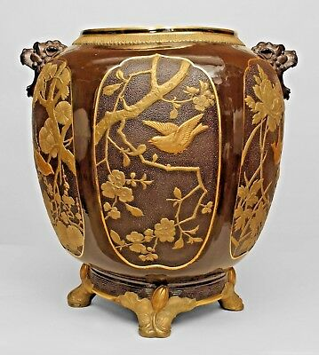English Regency Style (19th Cent) Brown Porcelain Jardiniere with Chinoiserie