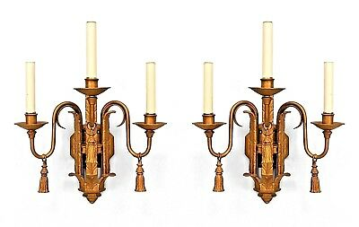 Pairs of English Georgian Style (19/20th Cent) Painted Iron 3 Arm Wall Sconces