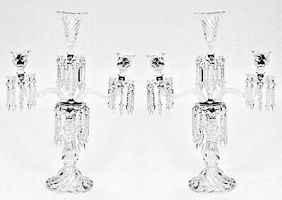 Pair of French Victorian Baccarat Crystal Swirl Design 2 Arm Candelabra