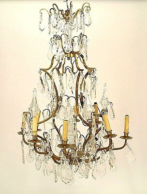 French Louis XV Style Bronze Dore & Crystal 8 Arm Chandelier (20th Cent.)
