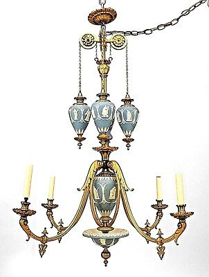English Adam style (19th Cent) bronze dore and Wedgwood 4 arm chandelier with 4