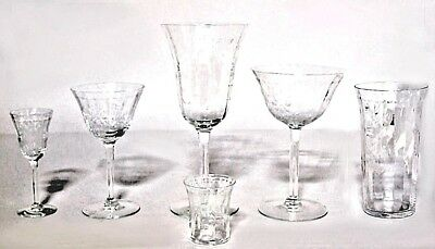 Set of 48 French Crystal Glasses with Etched Floral and Sunburst Design