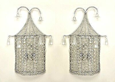 Pair of English Regency Style Beaded Crystal Pagoda Shaped Wall Sconces