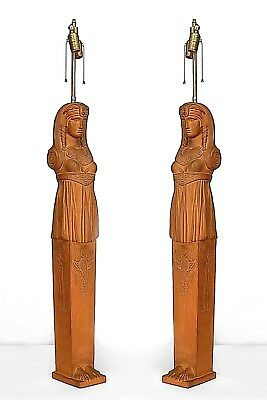 Pair of English Regency Style (19th/20th Cent.) Terra-Cotta Egyptian Table Lamps