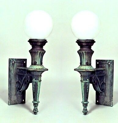 Pair of American Victorian (19/20th Cent) Bronze Outdoor Wall Sconces