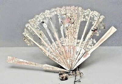 American Victorian decorative hand fan with etched pearl and lace