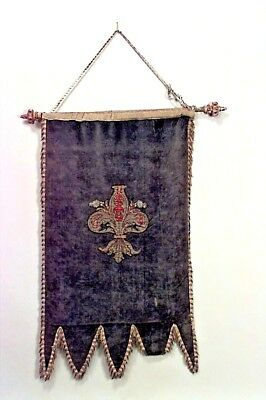 Italian Renaissance Style (19th Cent) Blue Velvet Hanging Banner with Embroidery