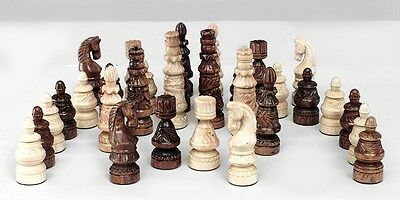 Italian Neo-Classic Style (20th Cent) Carved Dark and Light Wood Chess Set