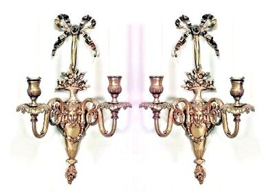Pair of French Victorian Style Bronze Dore 2 Scroll Arm Wall Sconces