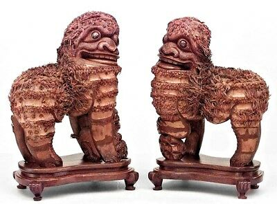 Pair of Asian Chinese Style (19th Cent) Carved Wood Foo Dog Figures
