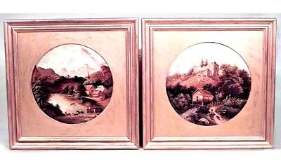 Pair of American Victorian Round Landscape Oil Paintings in square Gilt Frames