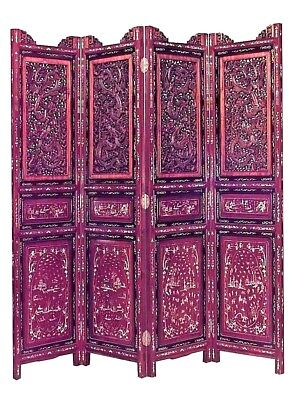 Asian Chinese Style (19th Cent) Carved Mahogany Filigree 4 Fold Screen