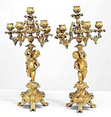 Pair of French Louis XV Style Bronze Dore 5 Arm Candelabra